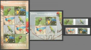 MV 2019 EXCLUSIVE COOK ISLANDS FAUNA BIRDS PARROTS SH+KB+SET NOMINAL 168 $ MNH