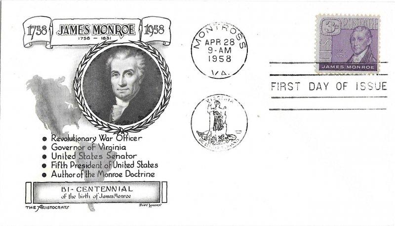 #1105 FDC, 3c James Monroe, Aristocrats-Lowry cachet