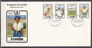 Lesotho, Scott cat. 487-490. Youth Year & Girl Scouts on Long First day Cover..
