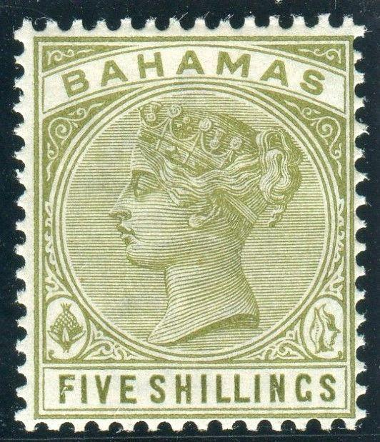BAHAMAS-1884-90 5/- Sage Green.  A lightly mounted mint example Sg 56