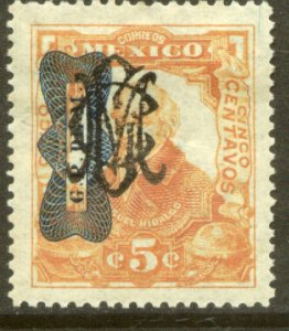 MEXICO 555, 5¢ CORBATA & VILLA MONOGRAM REVOLUT OVPT. UNUSED, H OG. VF.