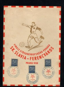 Czechoslovakia 1938 Central European Soccer Finals card with special cancels