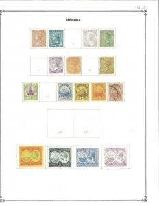 Bermuda #1/126 Mint(13) & used (11) Hinged on a Scott international Blank page