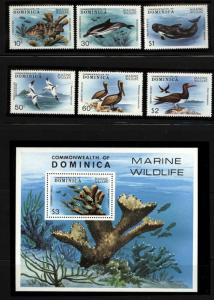 Dominica  Scott 618-23,624 Fish marine set and S, Sheet Mint NH in mounts jp