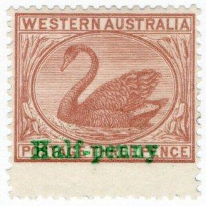 (I.B) Australia Postal : Western Australia ½d on 3d OP (SG 110a)