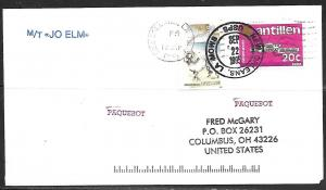 1995 Paquebot Cover, Netherlands Antilles stamps used in New Orleans, Louisiana