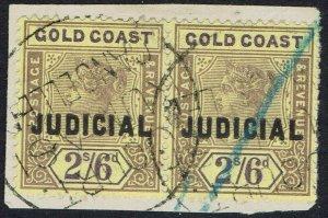 GOLD COAST 1899 QV JUDICIAL REVENUE 2/6 PAIR USED