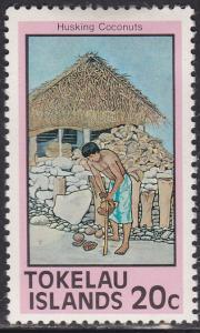 Tokelau Islands 54 Husking Coconuts 1976