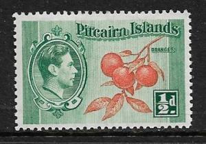 PITCAIRN ISLANDS 1 MNH CLUSTER OF ORANGES ISSUE 1940