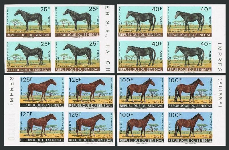 Senegal 338-341 imperf blocks/4,MNH.Michel 448B-449B,458B-459B. Horses,1971.