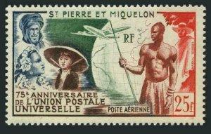 St Pierre & Miquelon C18,MNH.Michel 37. UPU-75,1949.French Colonials,Plane,Globe