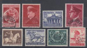 Germany Sc B170/B289 used 1940-1944 issues, 8 complete sets