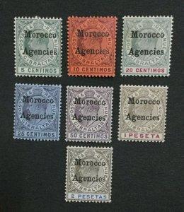 MOMEN: MOROCCO AGENCIES SG #17-23 1903-1905 MINT OG H LOT #194730-3016