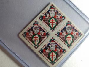 1921 CHRISTMAS SEALS BLOCK OF 4 MINT RARE PROOF !!! ALMOST 100 YEARS OLD !!!