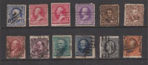 USA 1890 Regular Issue Sc#219-229, 220a Set Used