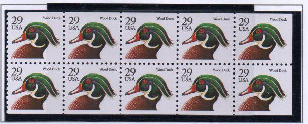 United States Sc 2484a 1991 Wood Duck stamp booklet pane mint NH