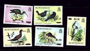 Montserrat 651-55 NH 1987 Surcharged Birds set