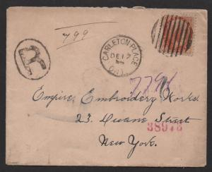 $Canada Sc#82 Registered cover Carleton Place 1898, nice cancel