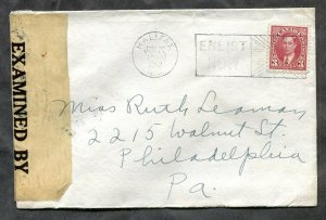 d198 - Canada HALIFAX 1942 Patriotic Slogan on CENSORED Cover to USA