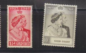 GOLD COAST, 1948 Silver Wedding pair, mnh., 10s. small crease at top.