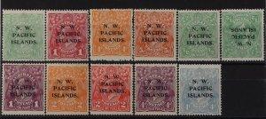 NEW GUINEA - NWPI 1918 KGV complete ½d-5d inc ½d both wmks, also wmk inverted.