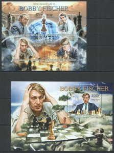 CA695 2013 CENTRAL AFRICA SPORT CHESS 70TH ANNIVERSARY BOBBY FISCHER KB+BL MNH