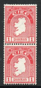 Ireland: 1922 1d coil stamps pair with grip pin marks SG 72 mint