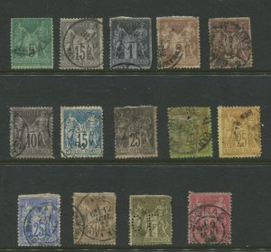 STAMP STATION PERTH France # Early Selection of 14 Stamps Type I and II Used