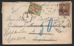 US Scott #223 & Switzerland J26a Postage Due Cover July 13, 1894 FWD London