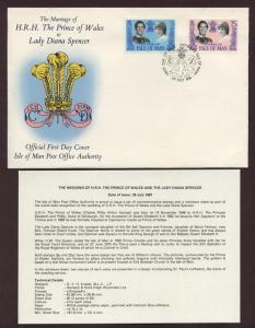 Isle of Man # 198 - # 199 , Royal Wedding FDC