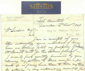 GB SCOTLAND Historic Letter SALMON FISHING 1849 Dundee Fish Market Cover MS1734