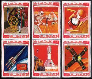 Ajman Mi #678A-683A set/3 pair mnh - 1971 space - Mars Project - Tycho Brahe