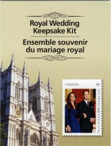 PRINCE WILLIAM and KATE = ROYAL WEDDING = KEEPSAKE KIT = Sealed = Canada 2011