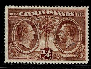 CAYMAN ISLANDS GV SG84, ¼d brown, M MINT.