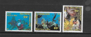 FRENCH POLYNESIA #578-80  UNDER WATER SCENES  MNH