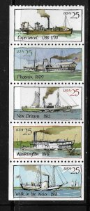 UNITED STATES, 2409A, MNH STRIP OF 5, STEAMBOAT