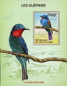 Bird Stamp Bee-eaters Merops Muelleri S/S MNH #1563 / Bl.199
