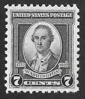 712 7 Cent Washington Trumbull Black Stamp Mint OG NH EGREADED VF 82