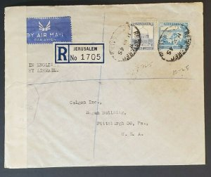 1945 Palestine to Pittsburgh PA Registered Censorship Commercial Air Mail Cover