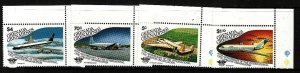 Grenada Grenadines-Sc#652-5-unused NH set-Planes-Aircraft-Civil Aviation-1985-