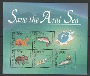 Kyrgyzstan 1996 Fauna Fish MNH Block