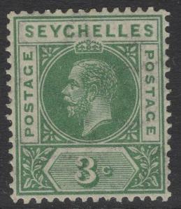 SEYCHELLES SG72 1912 3c GREEN MTD MINT