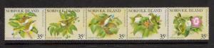 Norfolk Islands MNH Strip 287 White Breasted Silvereye Birds 1981