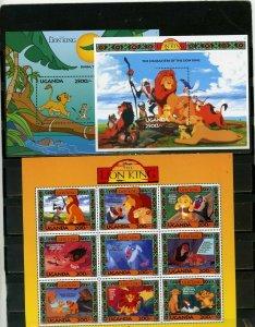 UGANDA 1994 WALT DISNEY LION KING SHEET OF 9 STAMPS & 2 S/S MNH