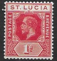 St Luicia 58   1907  1d unused   Ty I