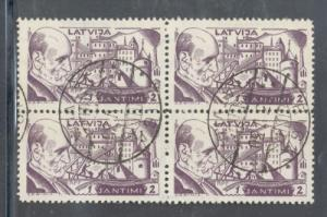 Latvia Sc B66 1930 1s + 2s Rainis Fund stamp used block of 4