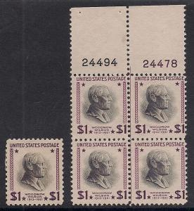 US#832h? Red Violet & Black - Top Plt.# Blk. 4 - Mint - O.G. - N.H.