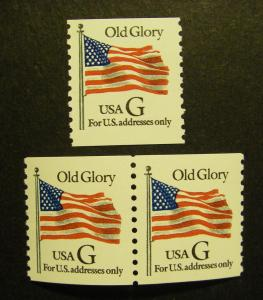 Scott 2889, 32c G Flag (black), Pair & Single, MNH Beauties