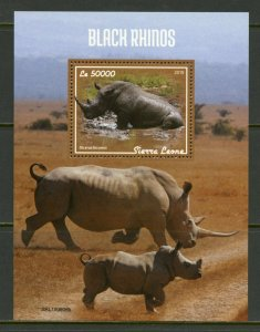 SIERRA LEONE 2019 BLACK RHINOS SOUVENIR SHEET MINT NEVER HINGED