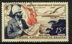 FRENCH EQUATORIAL AFRICA 1951 15fr Pierre de Brazza Airmail Scott No. C35 VFU